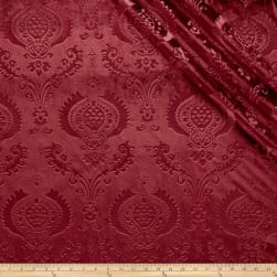 Damask Embossed Velvet Burgundy Fabric