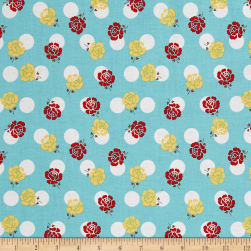 Riley Blake Sew Cherry 2 Rose Aqua Fabric