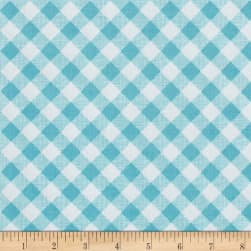 Riley Blake Sew Cherry 2 Gingham Aqua Fabric