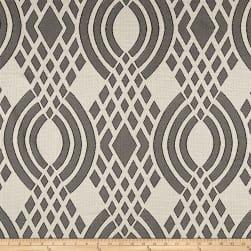 Parisian Lyon Basketweave Jacquard Geometric Grey Fabric