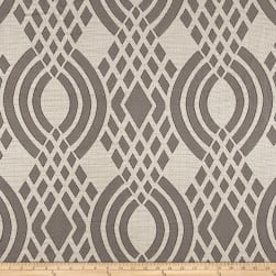 Parisian Lyon Basketweave Jacquard Geometric Gunmetal Fabric