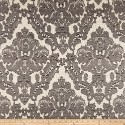 Parisian Alisace Basketweave Jacquard Damask Grey Fabric