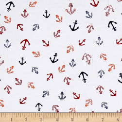Cotton Jersey Knit Nautical Anchors Orange/Navy