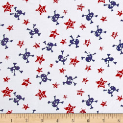 Cotton Jersey Knit Stars and Skulls Red/Navy Fabric