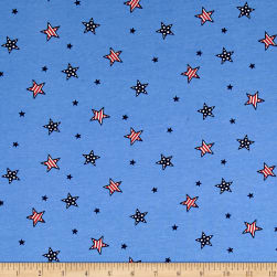 Cotton Jersey Knit American Stars Blue/Red/White Fabric