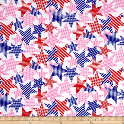 Fabric Merchants Cotton Jersey Knit Stars Navy/Pink/Red Fabric