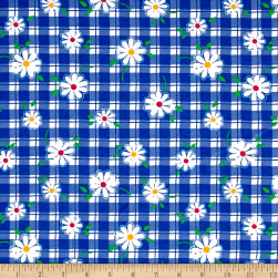 Cotton Jersey Knit Daisies on Gingham White/Blue Fabric