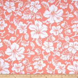 Swim Active Wear Hibiscus Hawaiian Floral Peach Fabric
