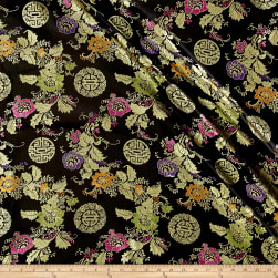 Chinese Brocade Floral & Medallions Black/Gold/Pink