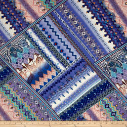 Telio Monet Rayon Sateen Aztec Print Royal