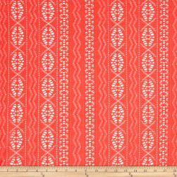 Telio Siesta Eyelet Stretch Lace Coral Orange Fabric