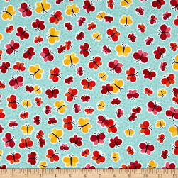 Anna's Garden Scattered Butterflies Sky Fabric
