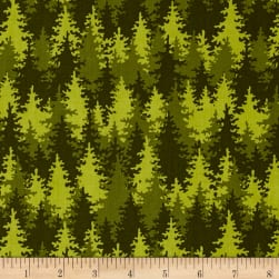 Let's Go Camping Into The Woods Green Fabric