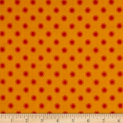 Let's Go Camping Sun Dot Orange Fabric