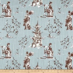 Premier Prints Asian Toile Regal Blue Slub Fabric