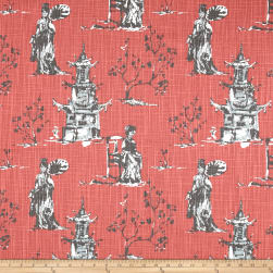 Premier Prints Asian Toile Scarlet Slub Fabric