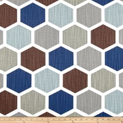 Premier Prints Hexagon Regal Blue Slub Fabric
