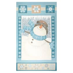 "I Still Love Snow Flannel Snowman 25"" Panel Blue"
