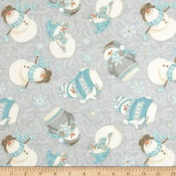 I Still Love Snow Flannel Tossed Snowmen Gray