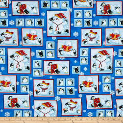 Penguin Parade Penguins & Snowmen In Boxes Blue