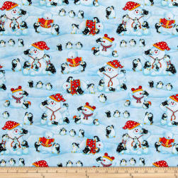 Penguin Parade Penguins Building Snowmen Light Blue Fabric