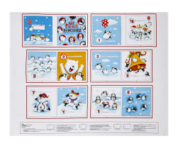 "Penguin Parade Book 35.5"" Panel White/Multi"