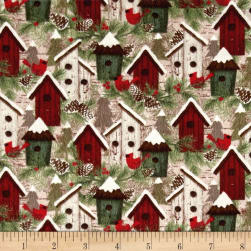 Woodland Retreat Flannel Birdhouses Multi