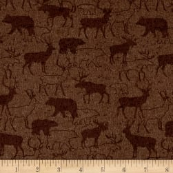 Woodland Retreat Flannel Animal Silhouette Brown