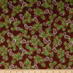 Woodland Retreat Flannel Pinecones Brown Fabric