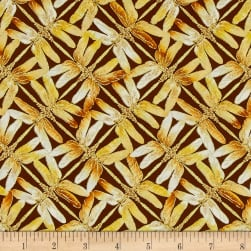 Kanvas Sun Valley Metallic Sunset Dragonfly Brown/Gold Fabric