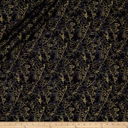 Kanvas Natural Beauty Metallic Wildflower Silhouette Black Fabric