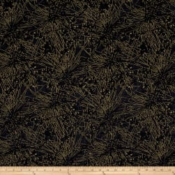 Kanvas Natural Beauty Metallic Silhouette Bursts Black Fabric