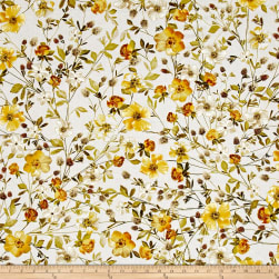 Kanvas Natural Beauty Metallic Wildflowers Cream Fabric