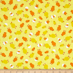 Kanvas Henrietta Hen Here Chick Chick Yellow Fabric