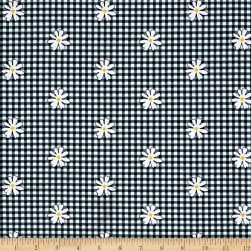 Kanvas Henrietta Hen Daisy Gingham Black Fabric