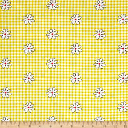 Kanvas Henrietta Hen Daisy Gingham Yellow Fabric