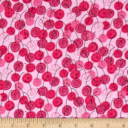 Kanvas Happy Hour Bing Cherries Pink Fabric