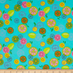 Kanvas Happy Hour Tossed Fruit Turquoise Fabric