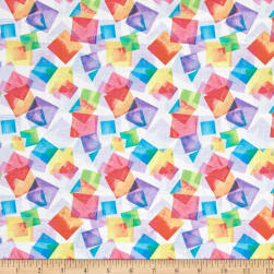 Kanvas Blocks Of Brilliance Floating Squares White/Pastel Fabric