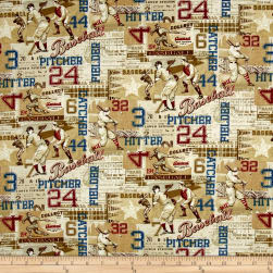 Play Ball American Pastime Tan Fabric