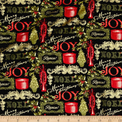 Florentine Christmas Metallic Joy Black Fabric