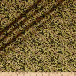 Florentine Christmas Metallic Florentine Swirls Green Fabric