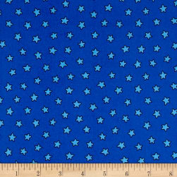 Pete The Cat Stars Blue Fabric