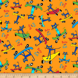 Pete The Cat Geo Orange Fabric