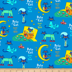 Pete The Cat Flannel Collage Blue Fabric