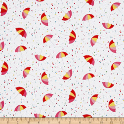 Chasing Waves Summer Showers White Fabric