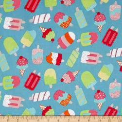 Chasing Waves Ice Cream Blue Fabric