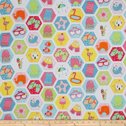 Chasing Waves Hexagon Patch White Fabric