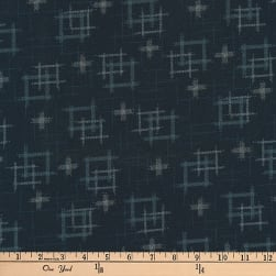 Kaufman Kasuri Hash Plaid Navy Fabric