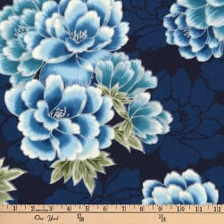 Kaufman Imperial Collection Metallic Flowers Indigo Fabric